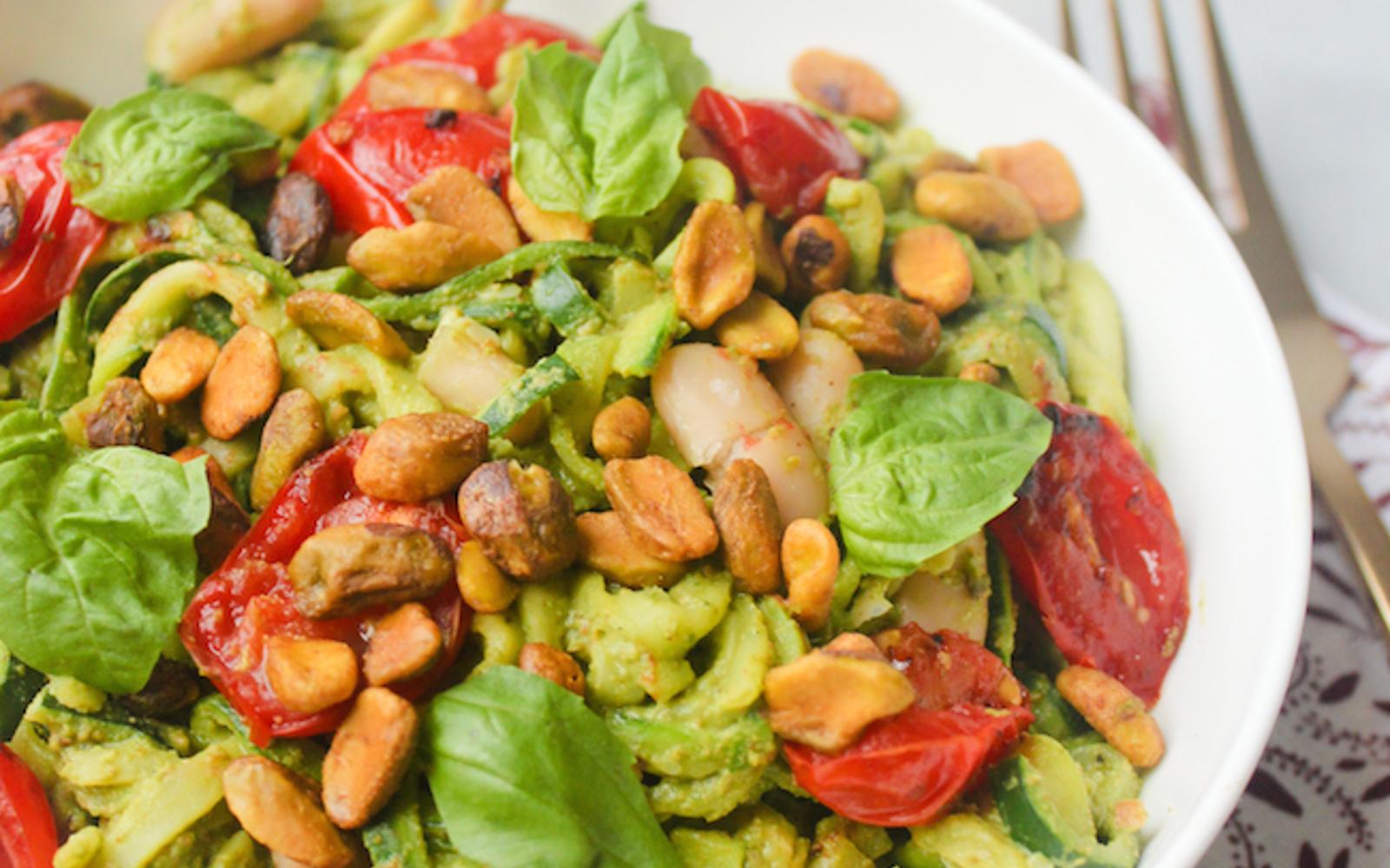 Zucchini Noodles With Oil-Free Roasted Pistachio Pesto [Vegan, Gluten-Free]