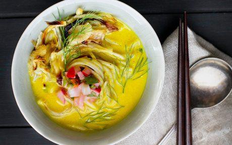 Golden Fennel Soba Noodle Soup