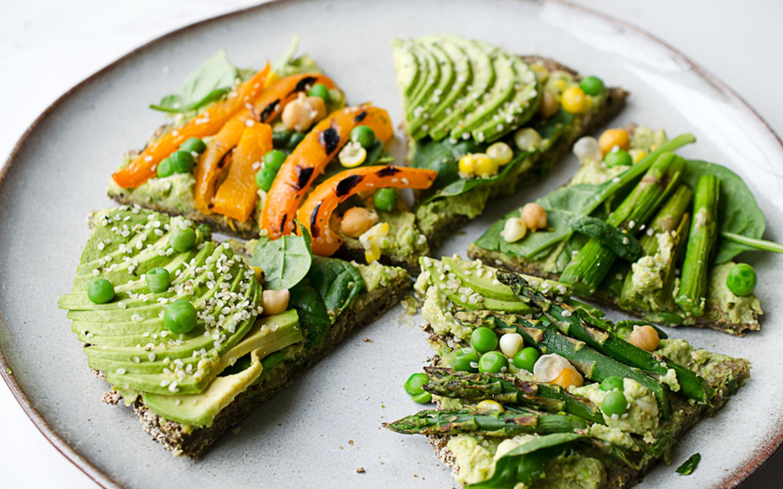Broccoli Pizza Crust and Green Pea Hummus