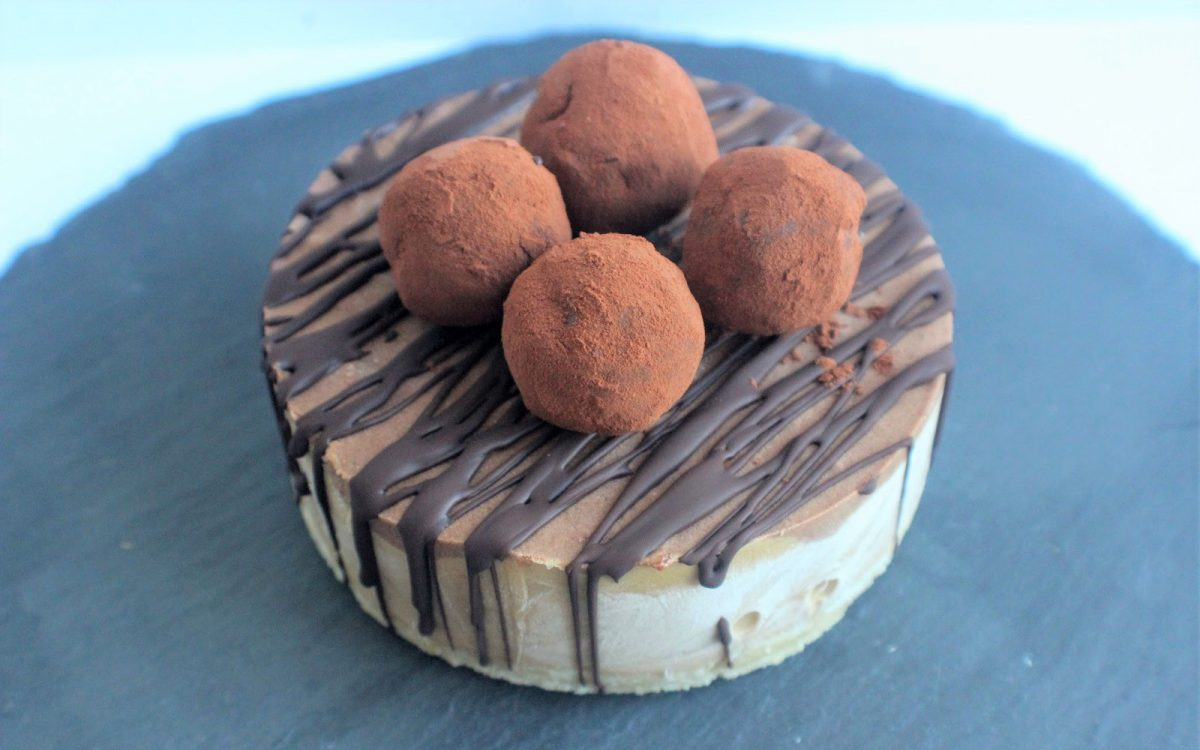 Raw Layered Espresso and Chocolate Cheesecake