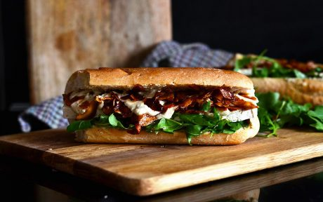 tofu and coconut vegan bacon caesar sub
