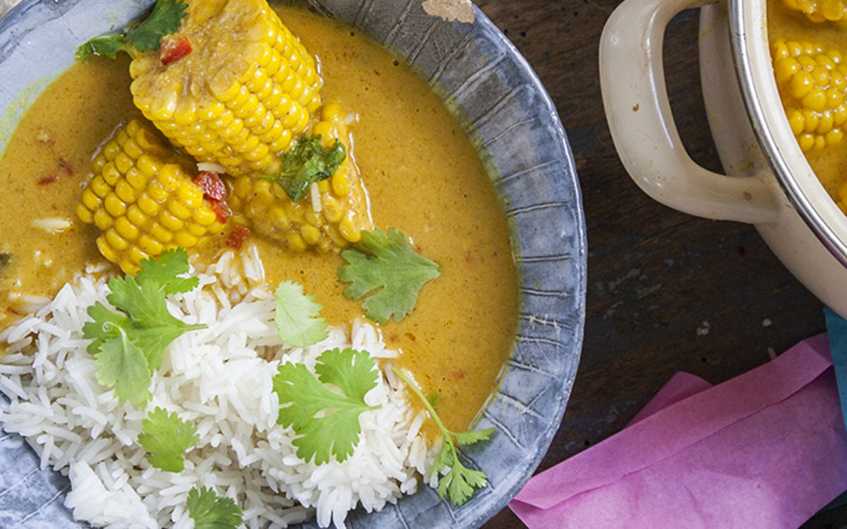 Vegan Thai yellow curry with corn