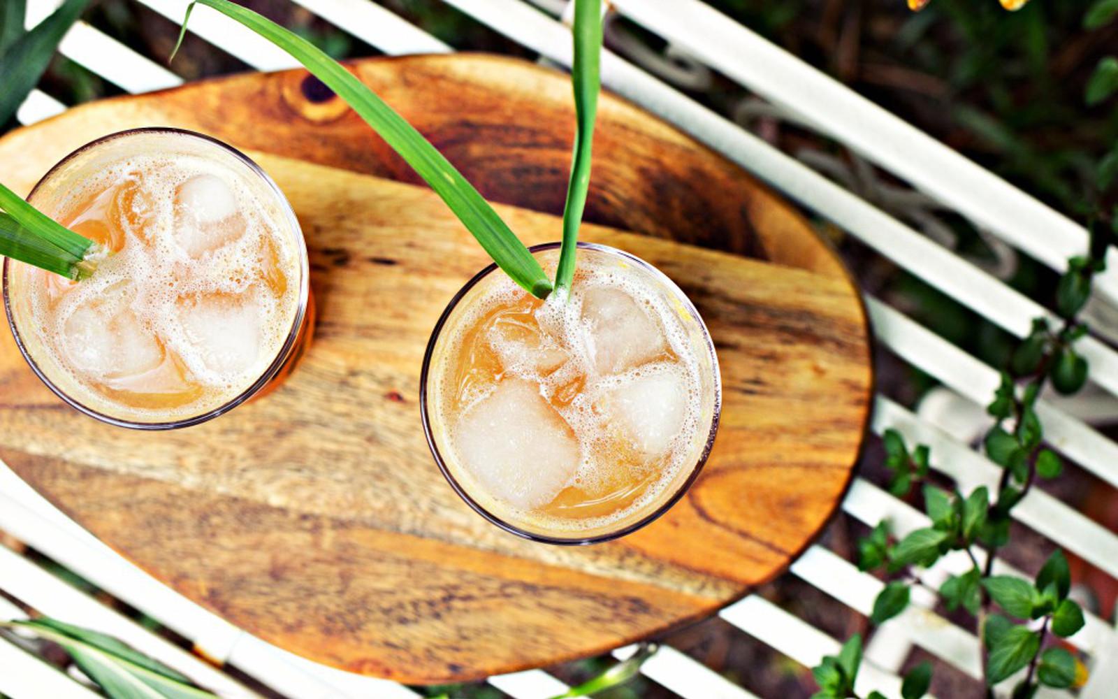 Peach and Lemongrass Shrub with apple cider vinegar