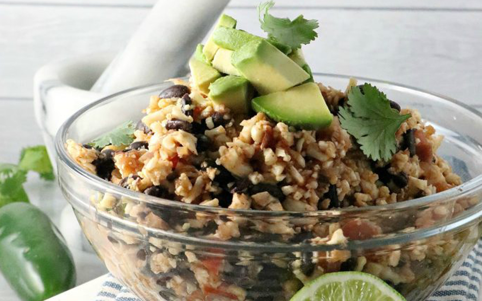 Vegan gluten-Free Spanish Cauliflower Rice with avocado