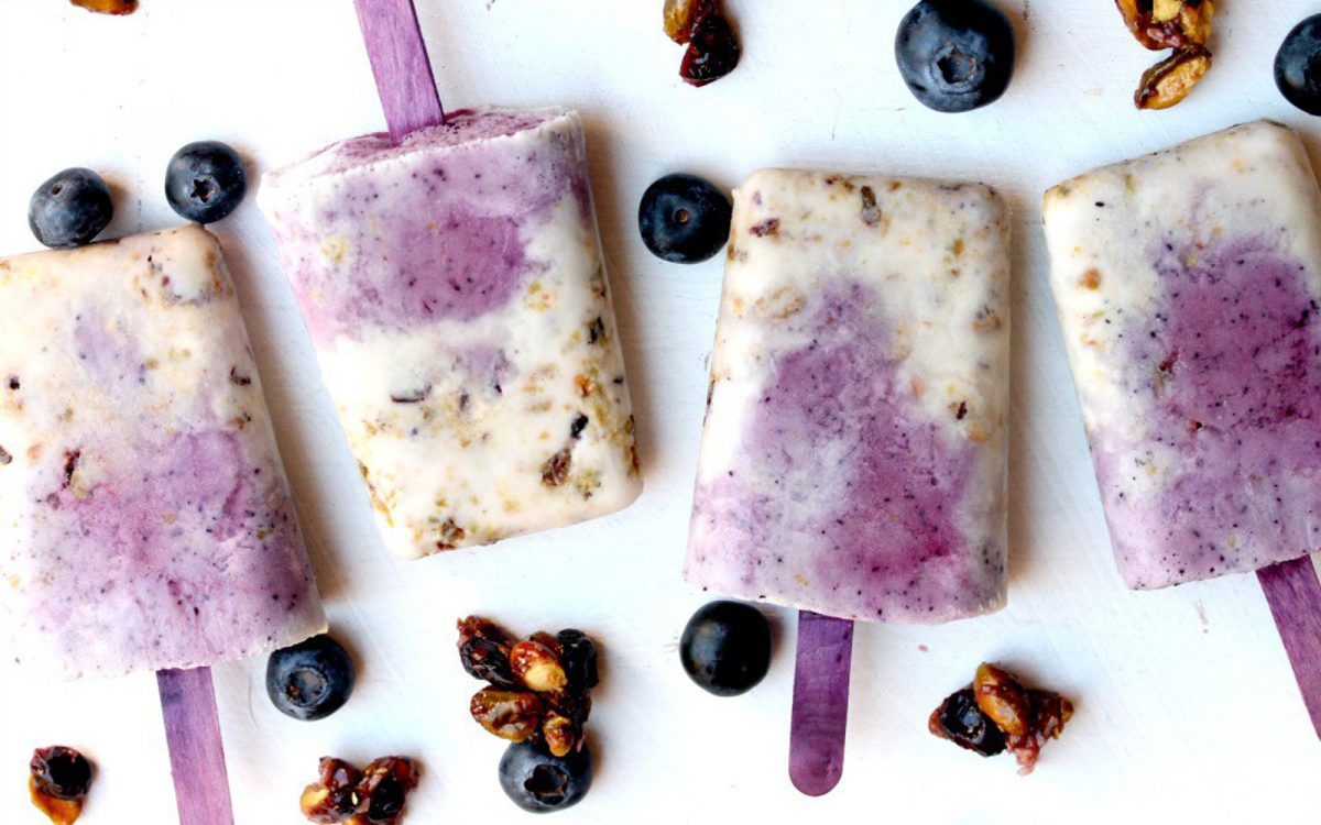 Vegan Pistachio, Blueberry, and Maple Coconut Creme dairy-free Popsicles
