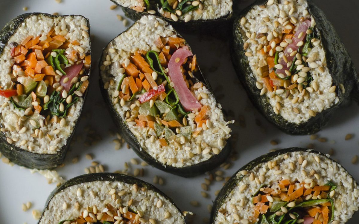 Raw Vegan Sushi Rolls With Sunflower Seed 'Rice'