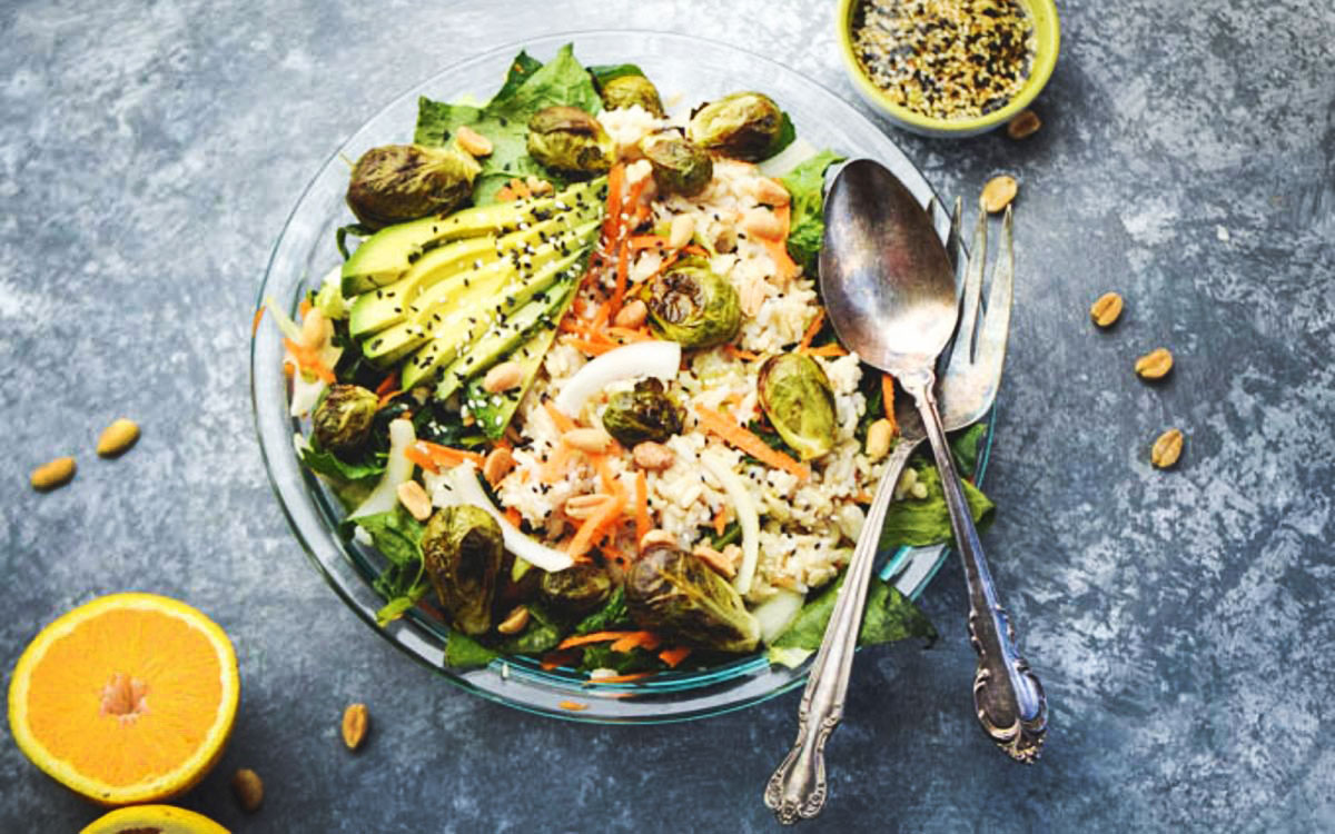 Roasted Brussels Sprouts Brown Rice Salad With Sesame Orange Dressing