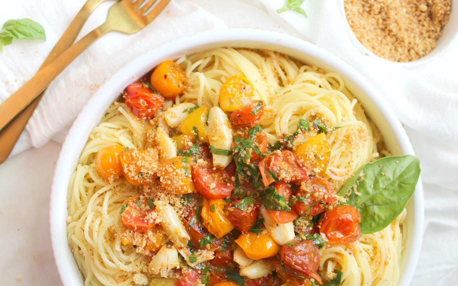 Roasted Garlic Tomato Spaghettini With Garlic 'Parmesan' Bread Crumbs