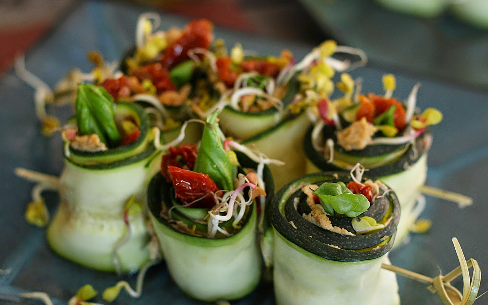 Zucchini Rolls With Sunflower Seed Pâté and Sun-dried Tomatoes