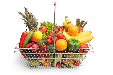 Fruits and vegetables in shopping basket