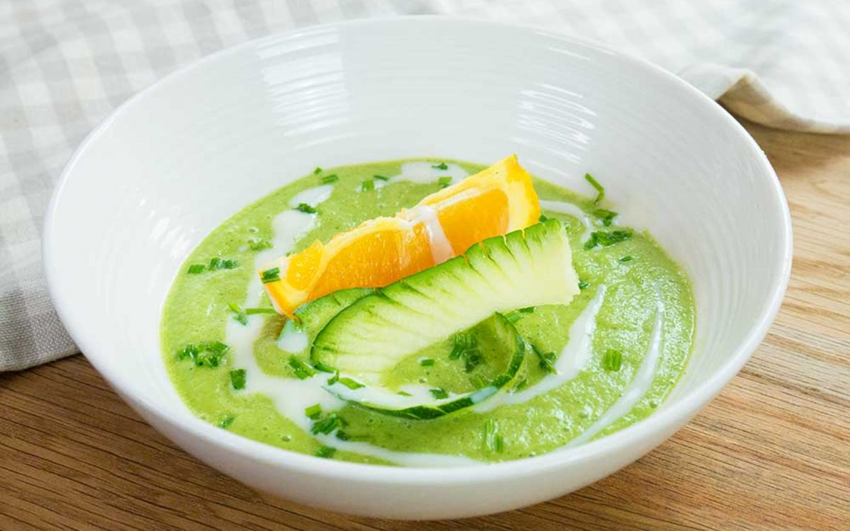 Vegan Chilled Zucchini, Orange, and basil soup