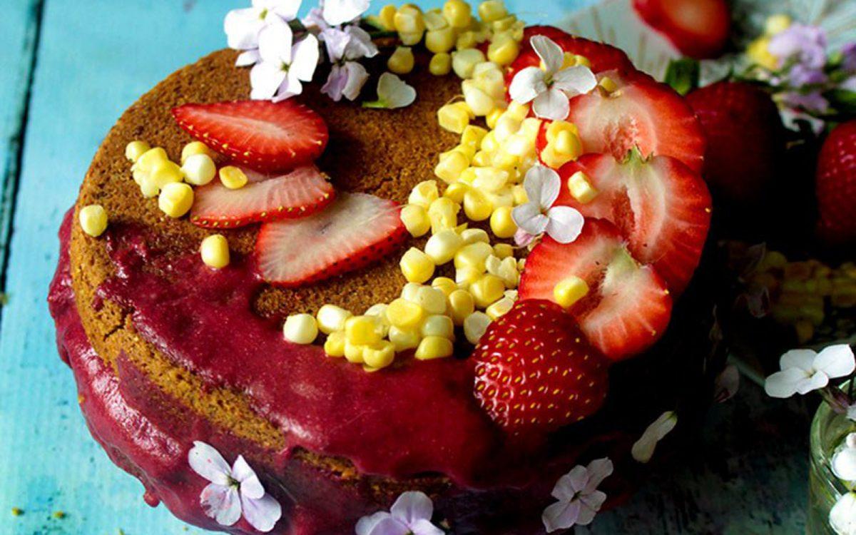 Mini Sweet Corn and Strawberry Cake