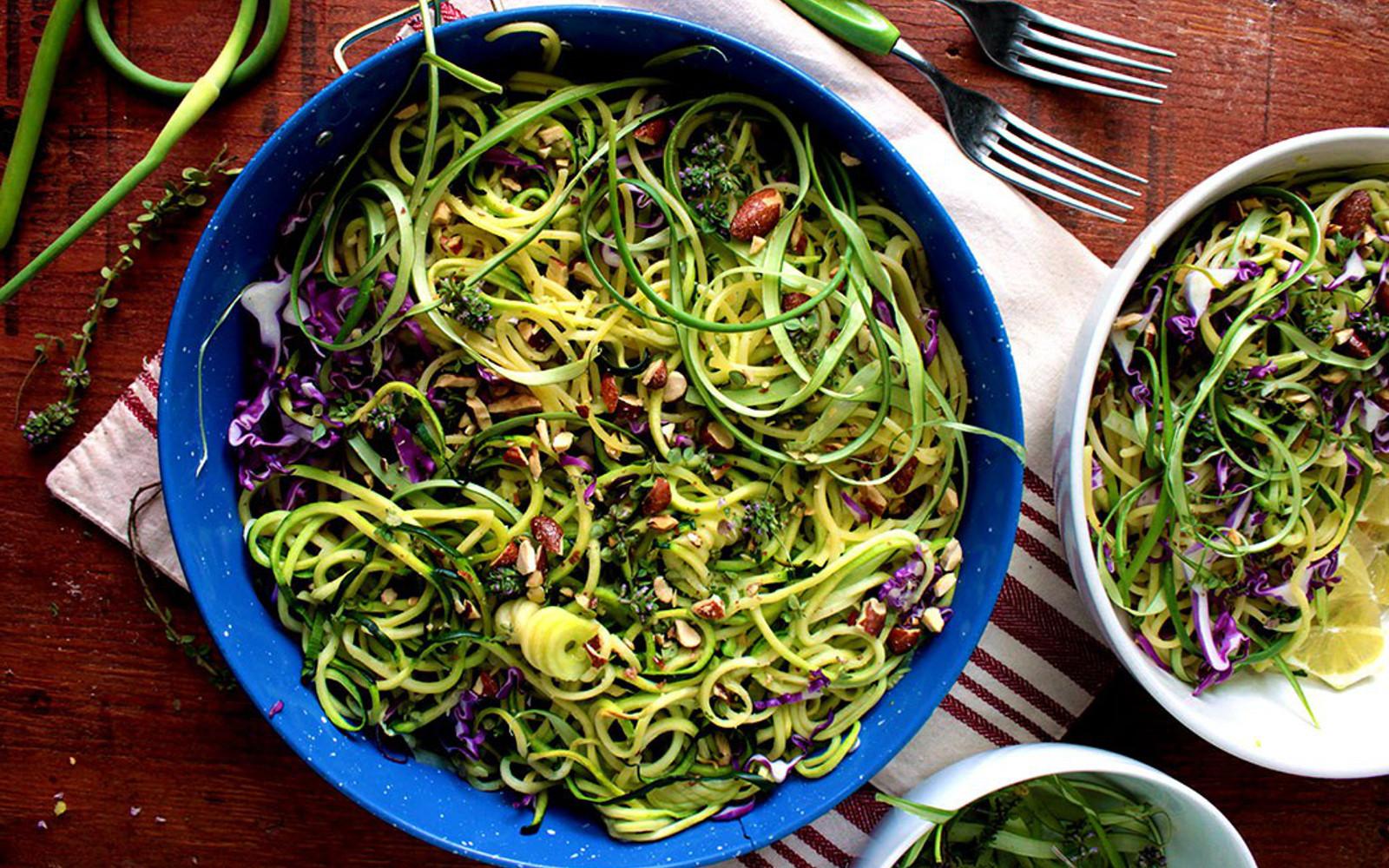 Vegan summer garlic scape and zucchini pasta