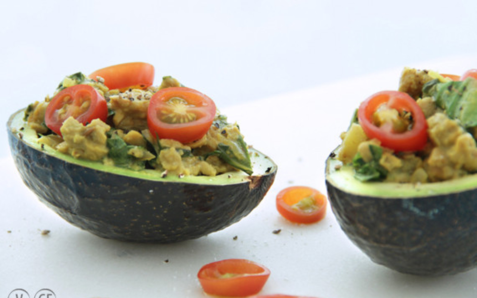 cheesy tempeh stuffed avocados