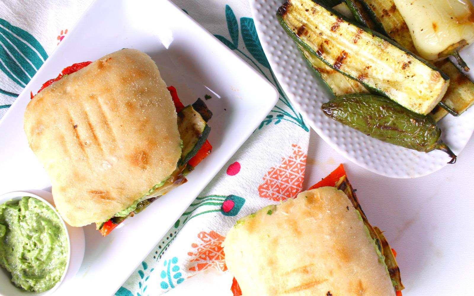 Grilled Veggie Sandwich With Basil Aioli [Vegan, Gluten-Free]