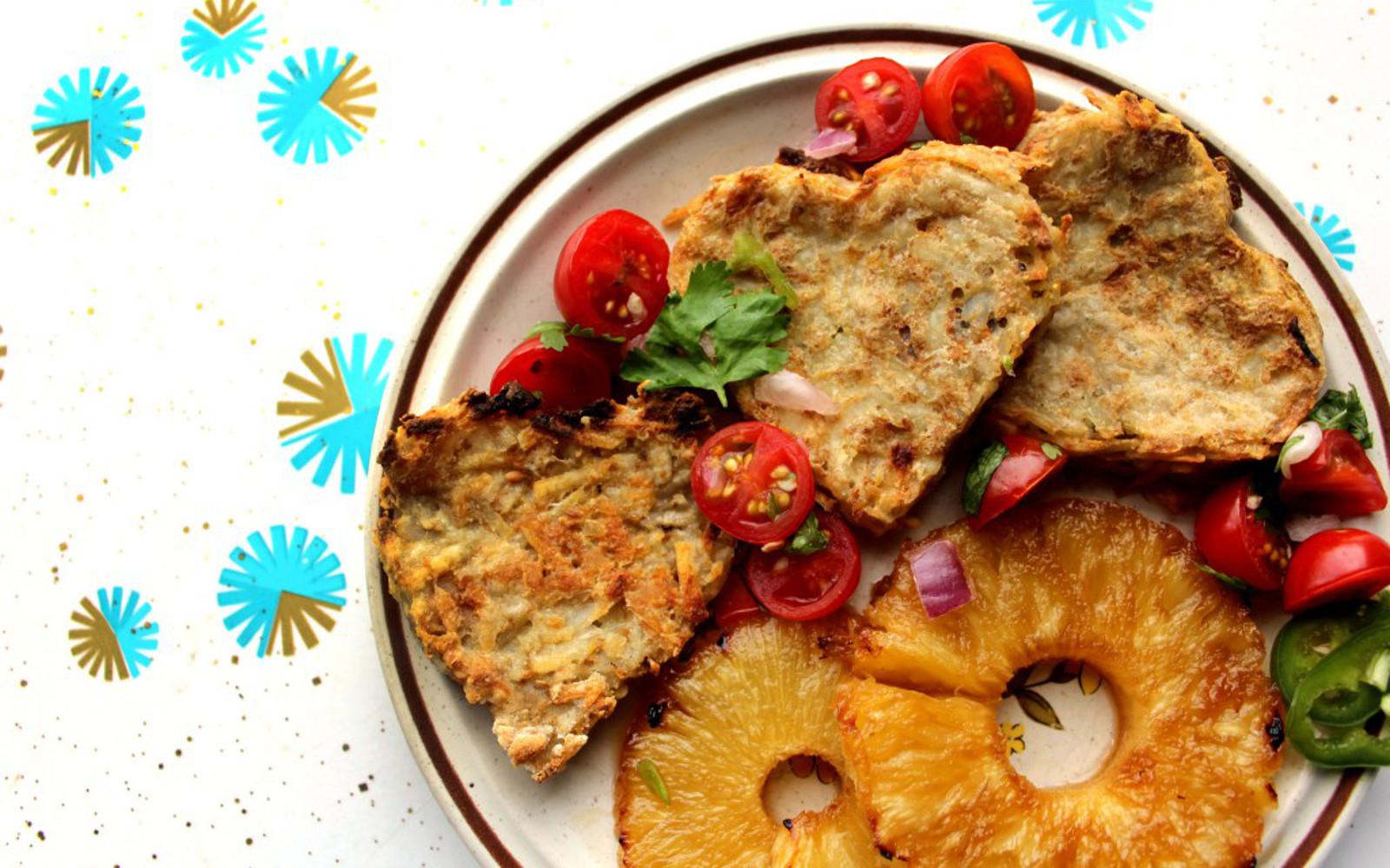 Vegan Pico Pineapple Potato Pancakes with fresh tomatoes