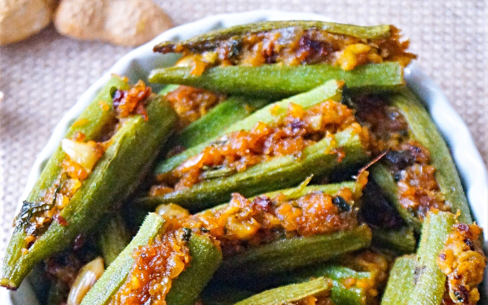 Vegan Indian Stuffed Okra