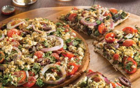 feta and olive greek pizza