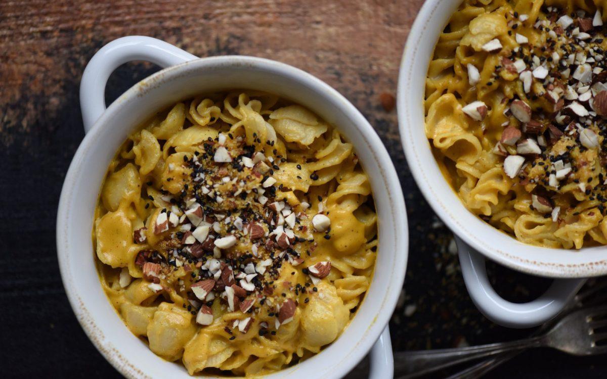 Vegan creamy golden mac and cheese