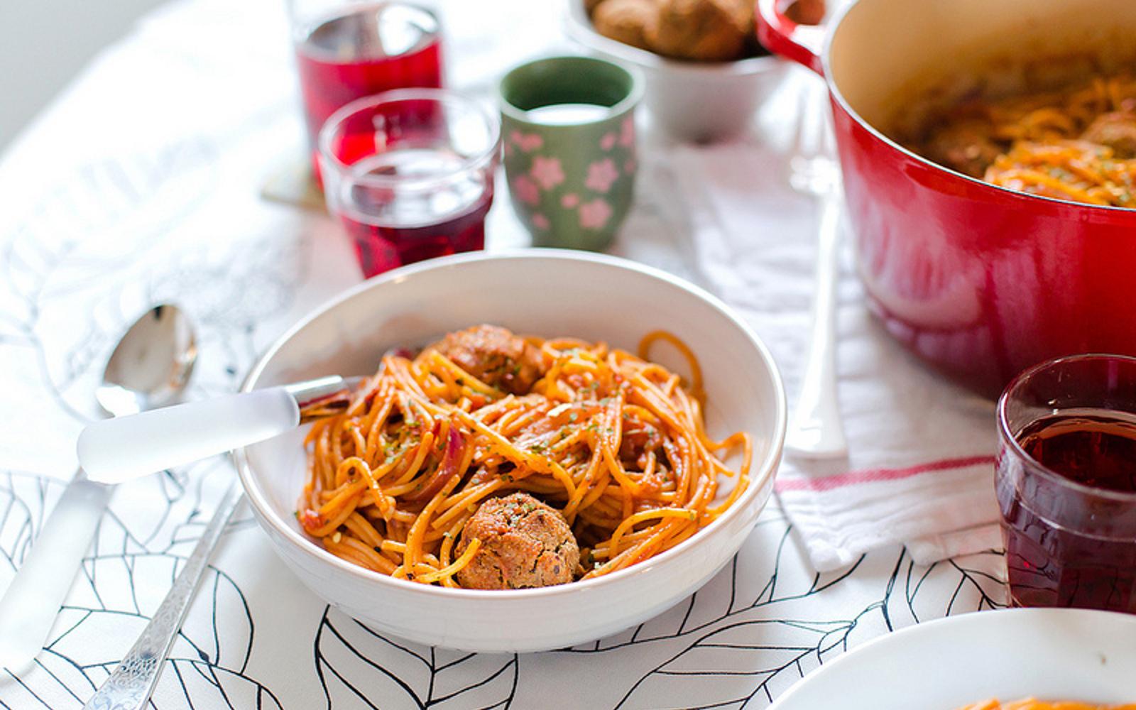 Vegan Gluten-Free Spaghetti With Black-Eyed Pea 'Meatballs'
