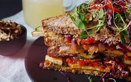 Vegan Smoked Tofu and Artichoke Spinach Sandwich