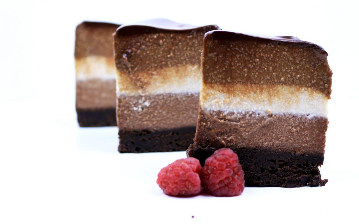 Tri-Layer Chocolate Cheesecake