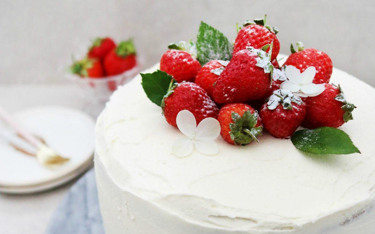 Vegan Vanilla Sponge Cake With Buttercream Frosting and Strawberry Jam