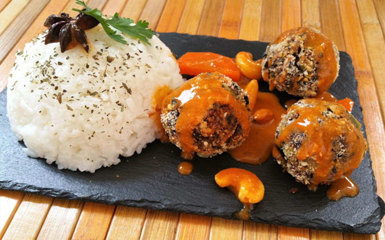 Albónidigas: Black Bean Meatballs With Tomato Coconut Sauce