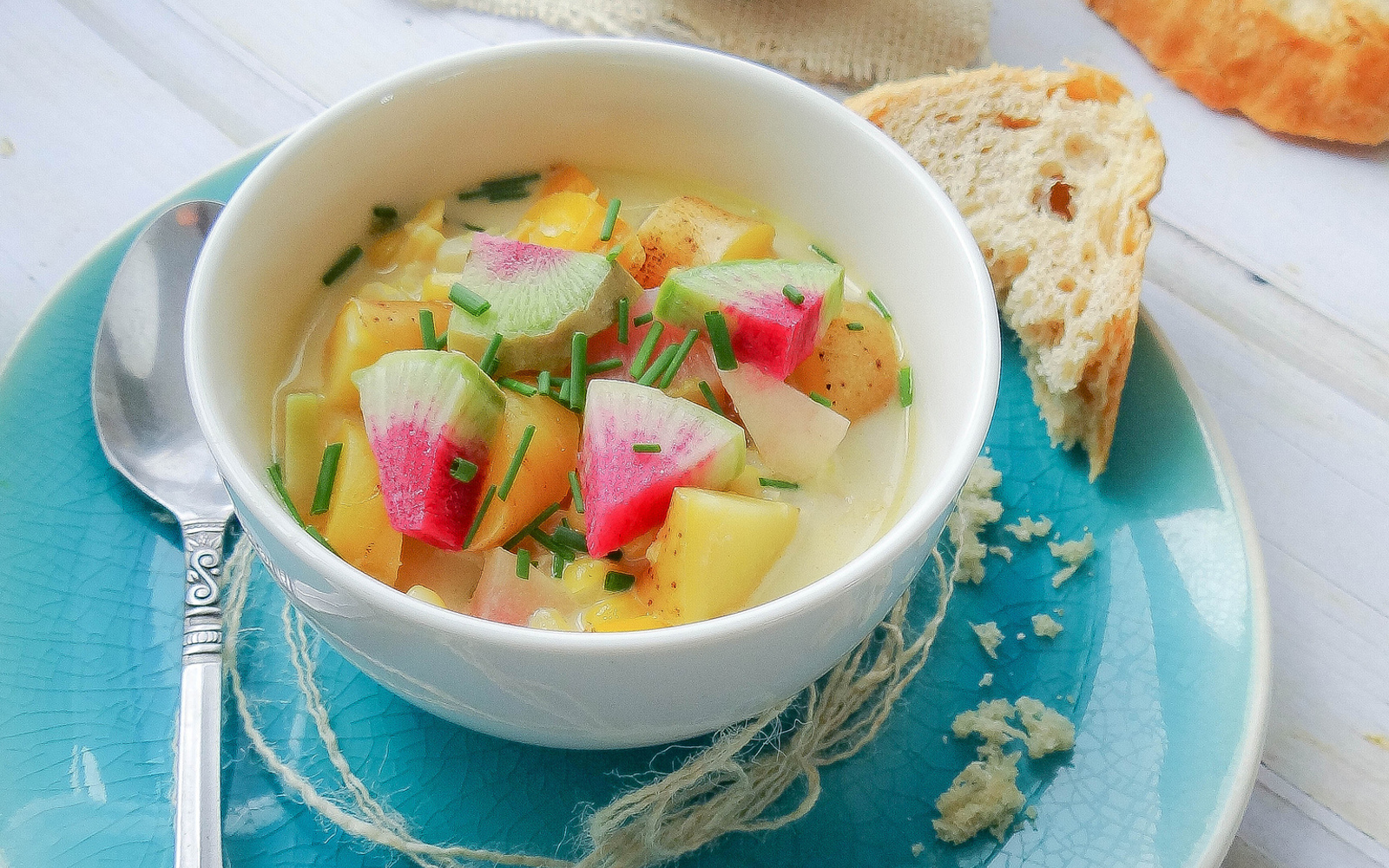 Green Curry Corn Chowder With Watermelon Radish [Vegan, Gluten-Free]