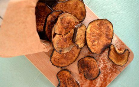 Vegan Gluten-Free Spicy Balsamic Baked Eggplant Chips