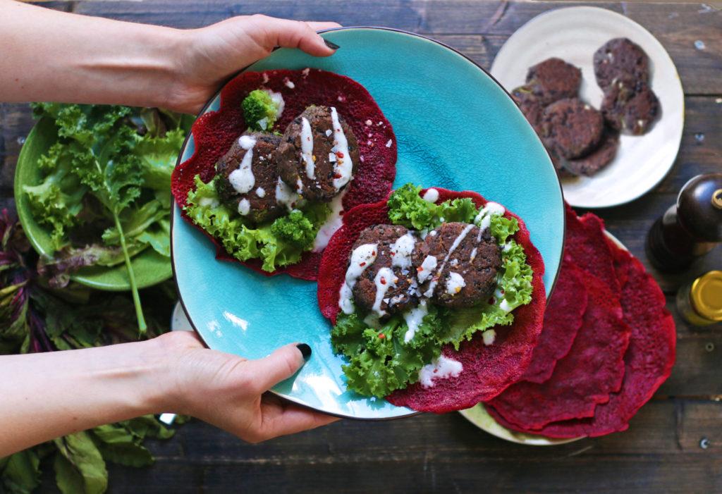 Vegan Bean Patties in Beet and Chickpea Wraps