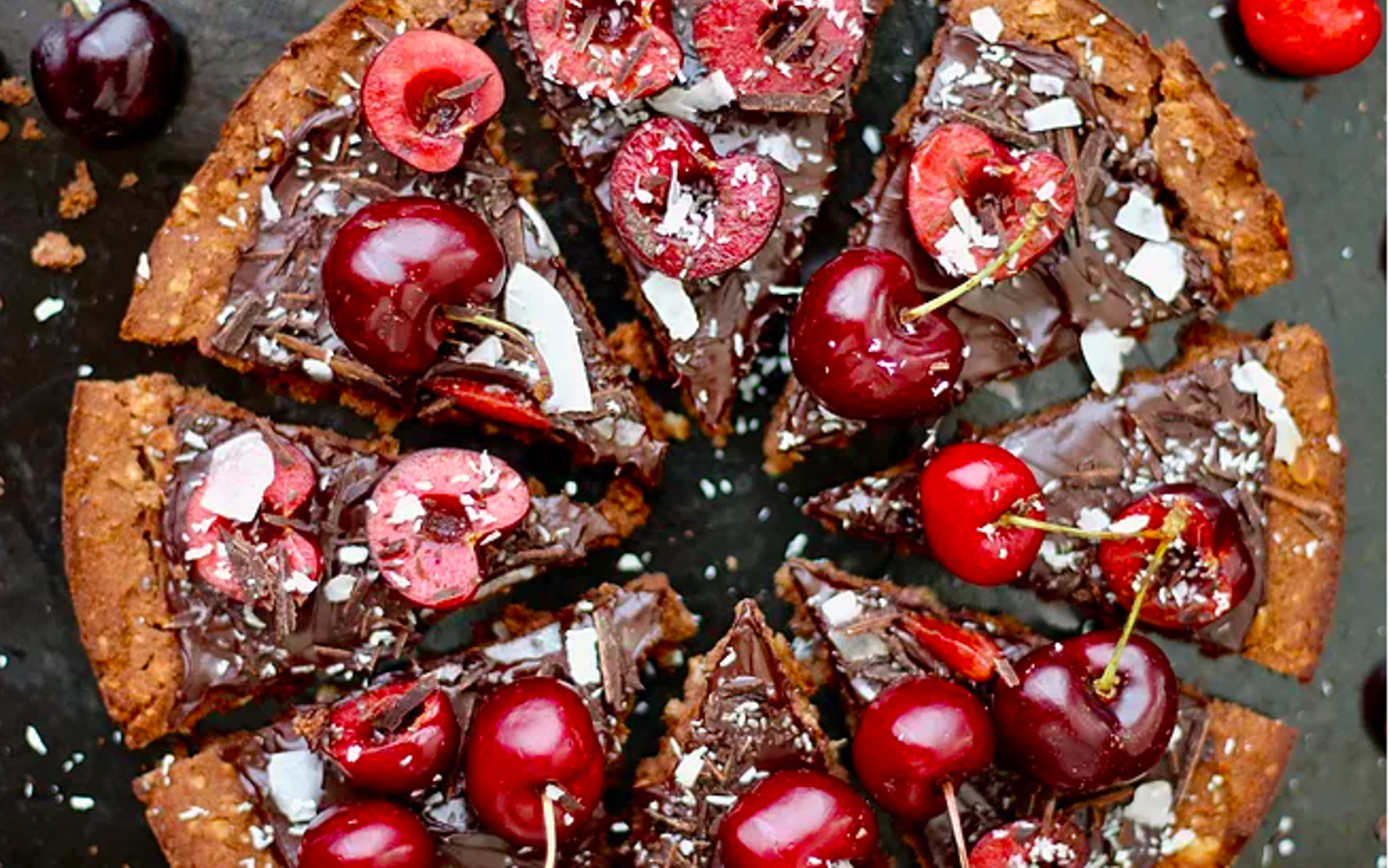 Chocolate Cherry Pizza Tart Vegan Gluten Free One Green Planet