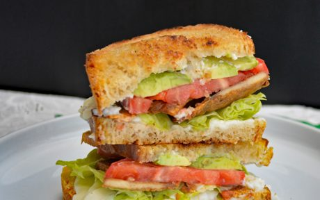 Vegan Gluten-Free Tempeh Bacon, Lettuce, Tomato, and Avocado Grilled Cheese