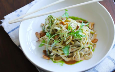 Cucumber spiralized noodles dressed with a spicy tahini sauce