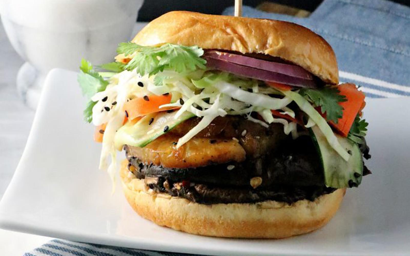Vegan Pineapple Teriyaki Portobello Burger