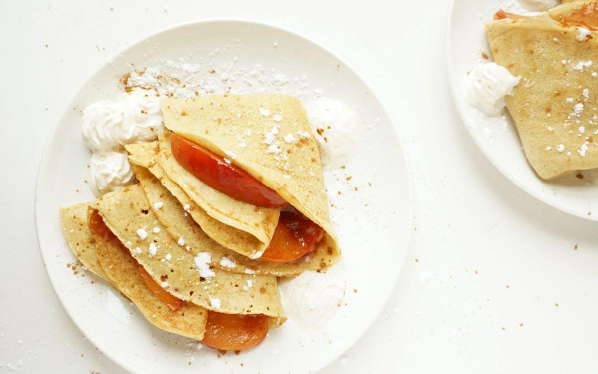 Vegan Peaches and Cream Crêpes