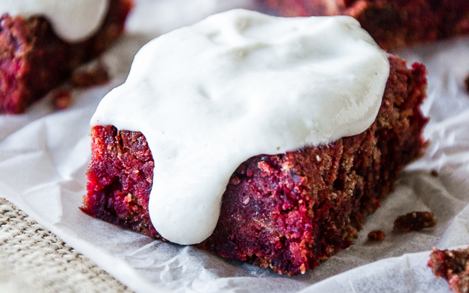 Red Velvet Beet Brownies With Aquafaba Vanilla Cashew Cream Frosting