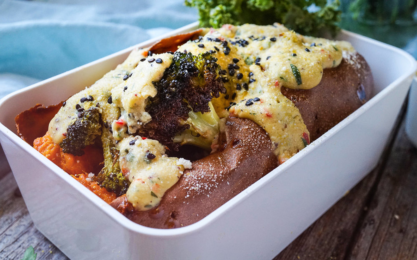 Vegan Roasted Sweet Potato and Broccoli With Cheesy Sauce