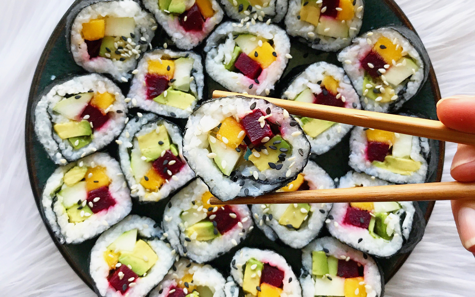 Vegan Mango Beet Sushi Rolls