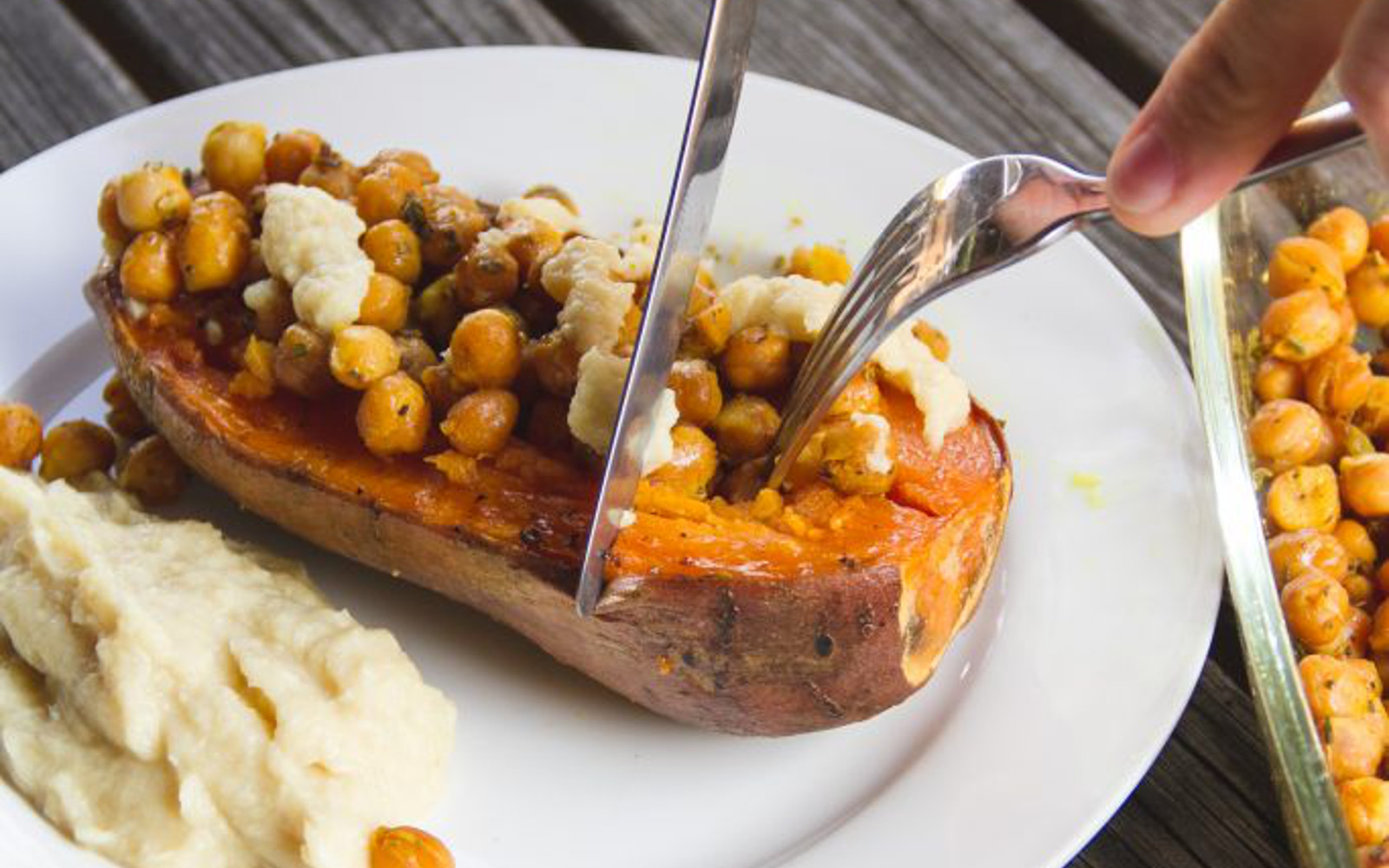 Sweet Potato and Chickpea Boats with Cheese Sauce