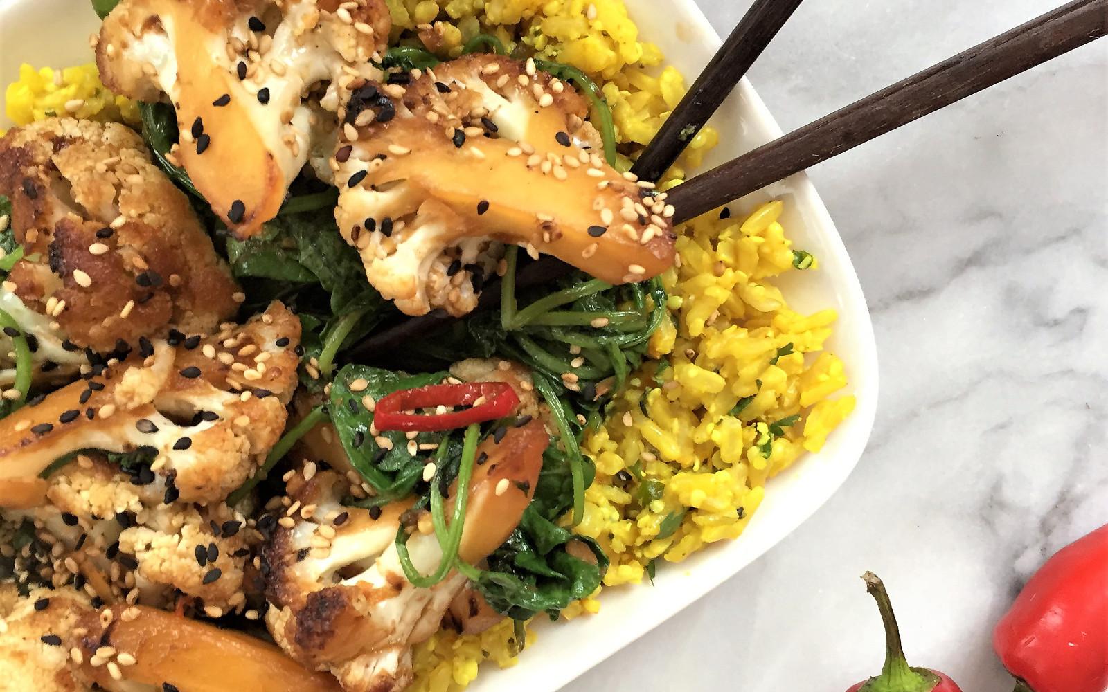 Vegan Gluten-Free Teriyaki Cauliflower and Kale Stir Fry with rice and sesame seeds