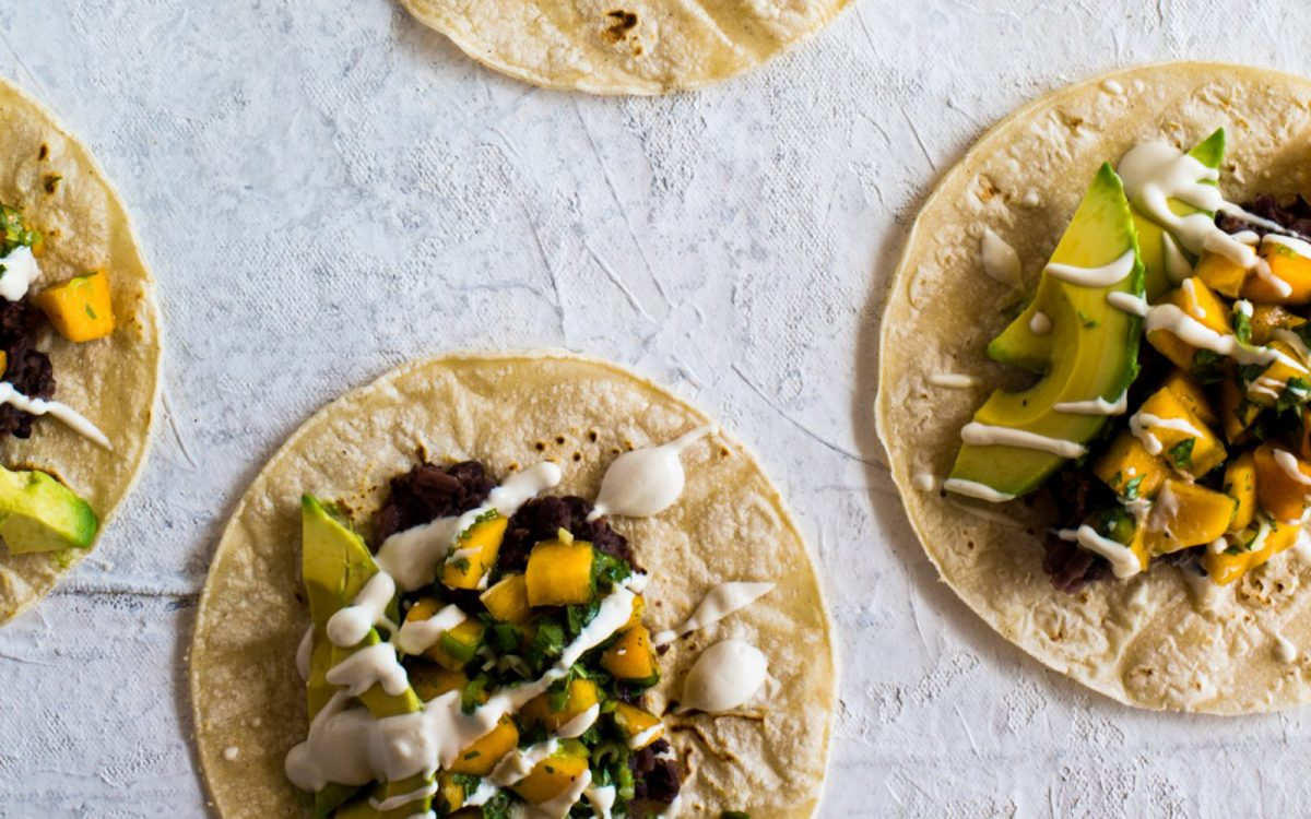 Vegan Black Bean Tacos With Persimmon Salsa and Lime Crema