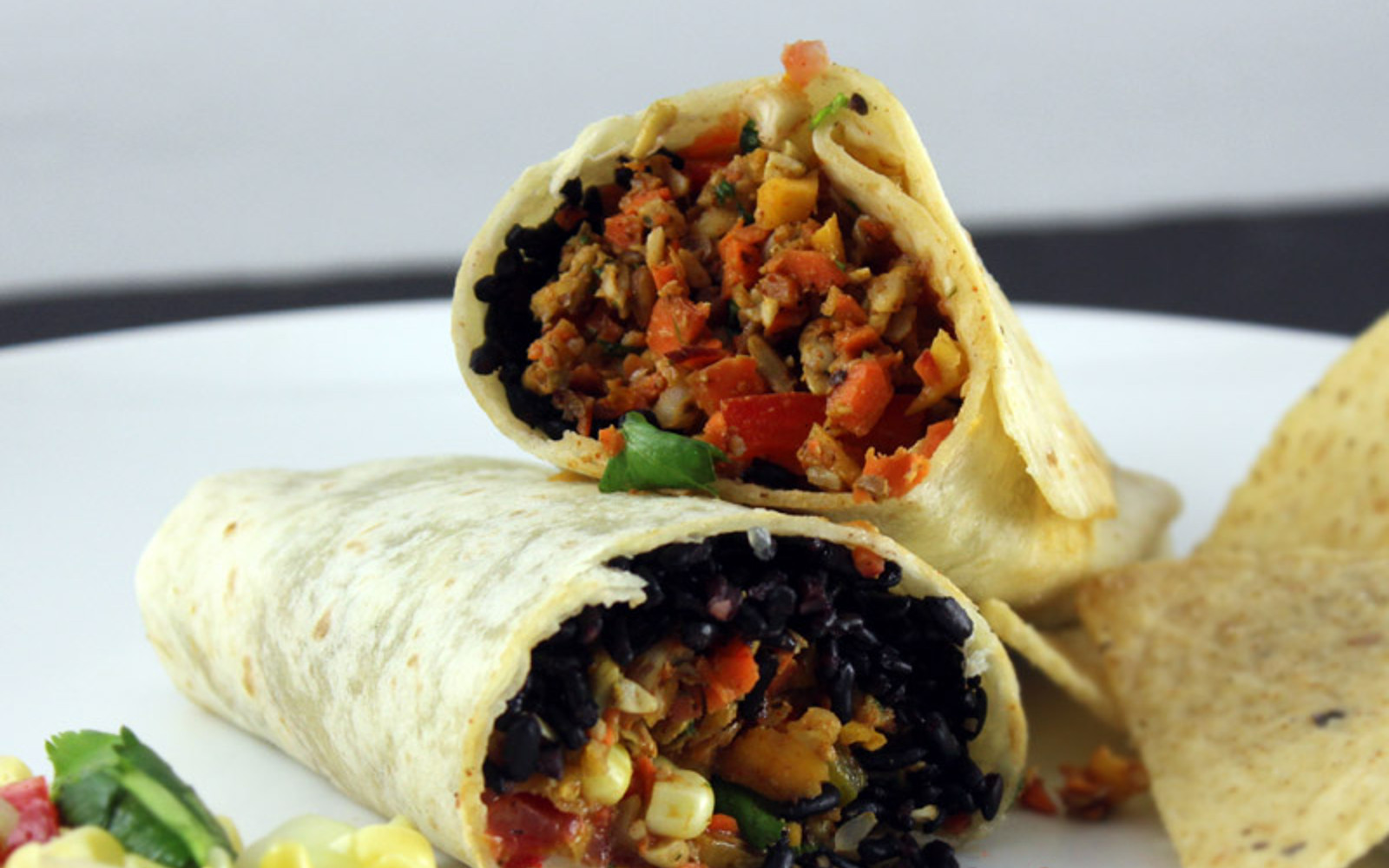 vegan Burritos With raw taco