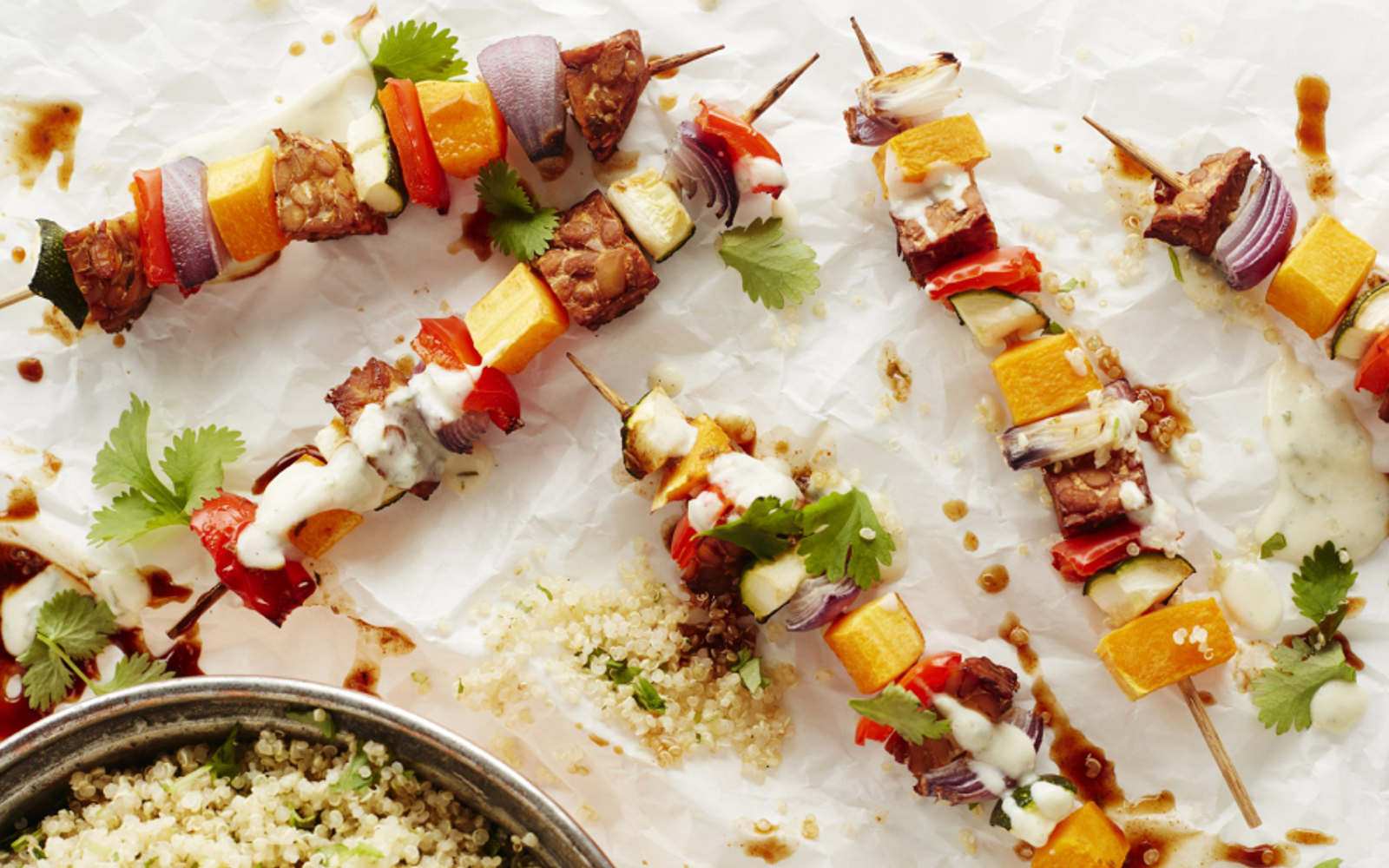 Grilled Vegetable Skewers With Mexican Quinoa