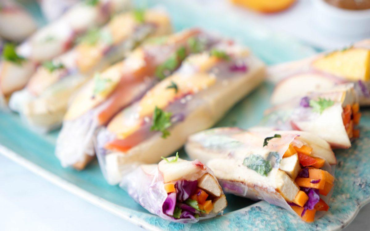 Crispy Tofu Stone Fruit Veggie Rolls With Dipping Sauces