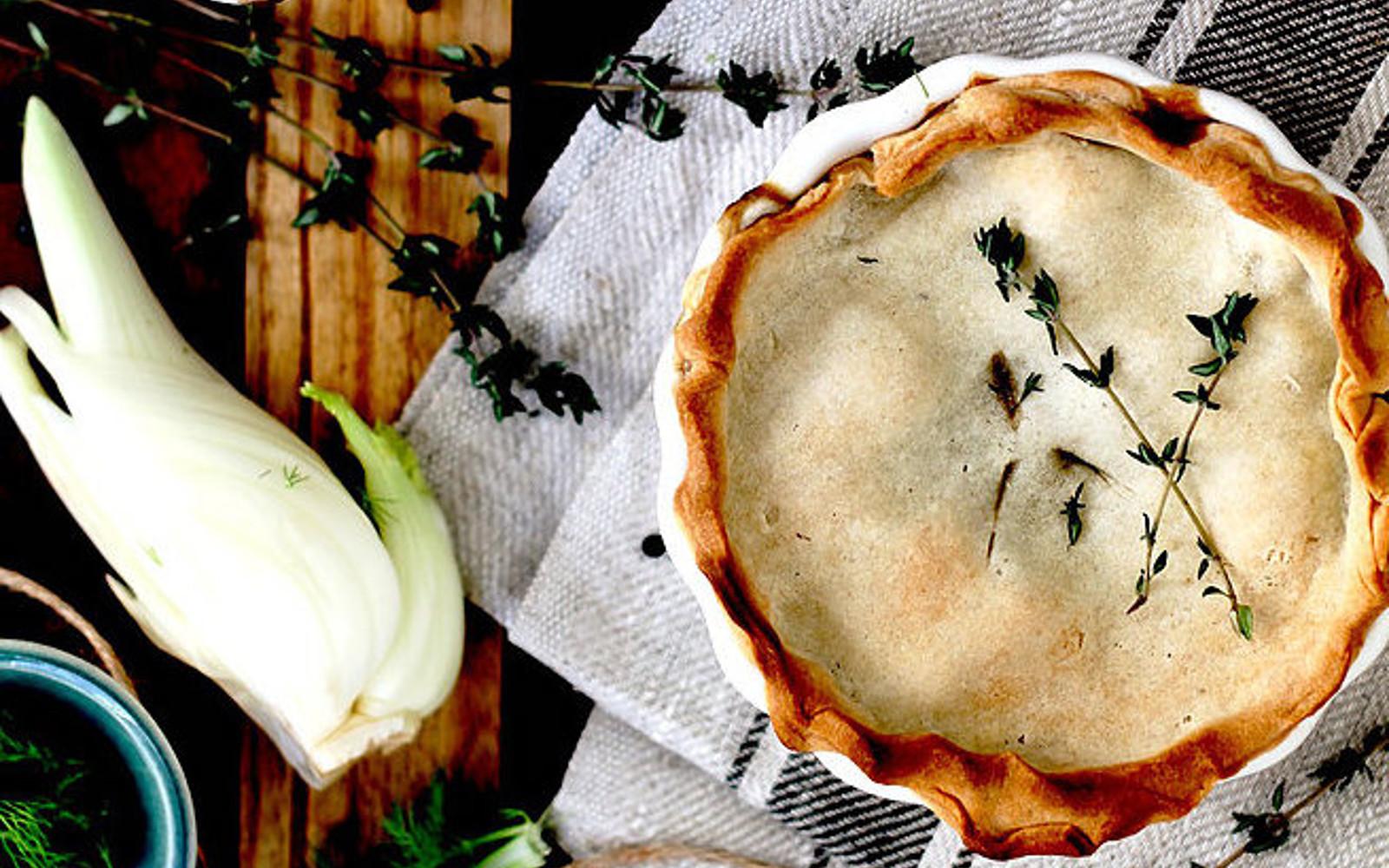 Mini Vegan Pot Pie With Black Lentil, Fennel, and Thyme