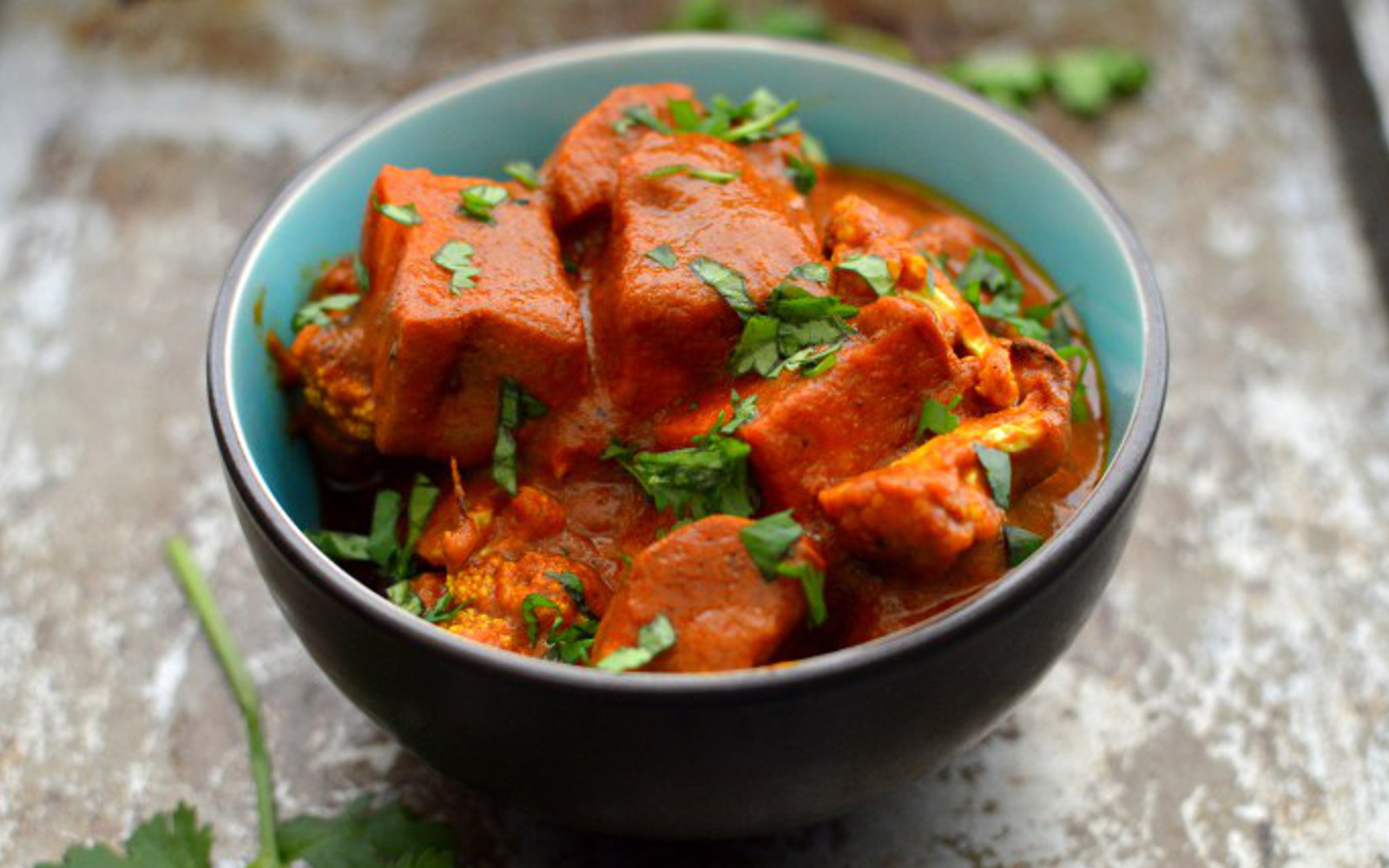 Vegan 'Butter' Masala With Roasted Sweet Potato and Cauliflower with herbs