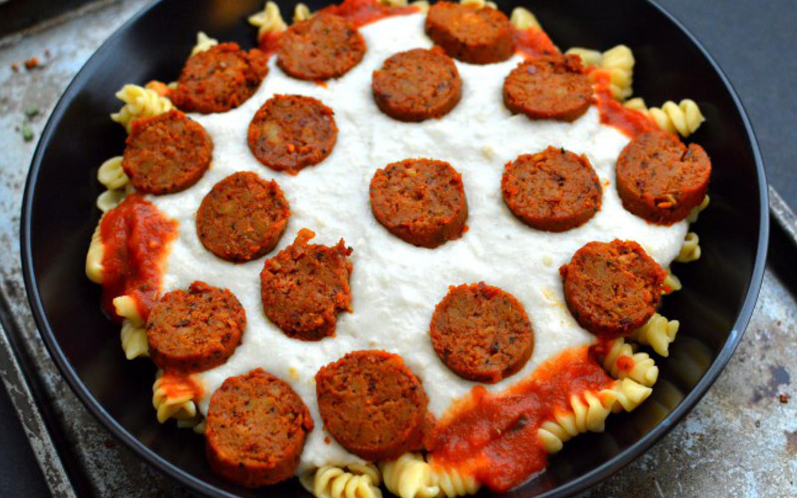 Pepperoni Pizza Pasta With Homemade Mozzarella [Vegan, Gluten-Free]