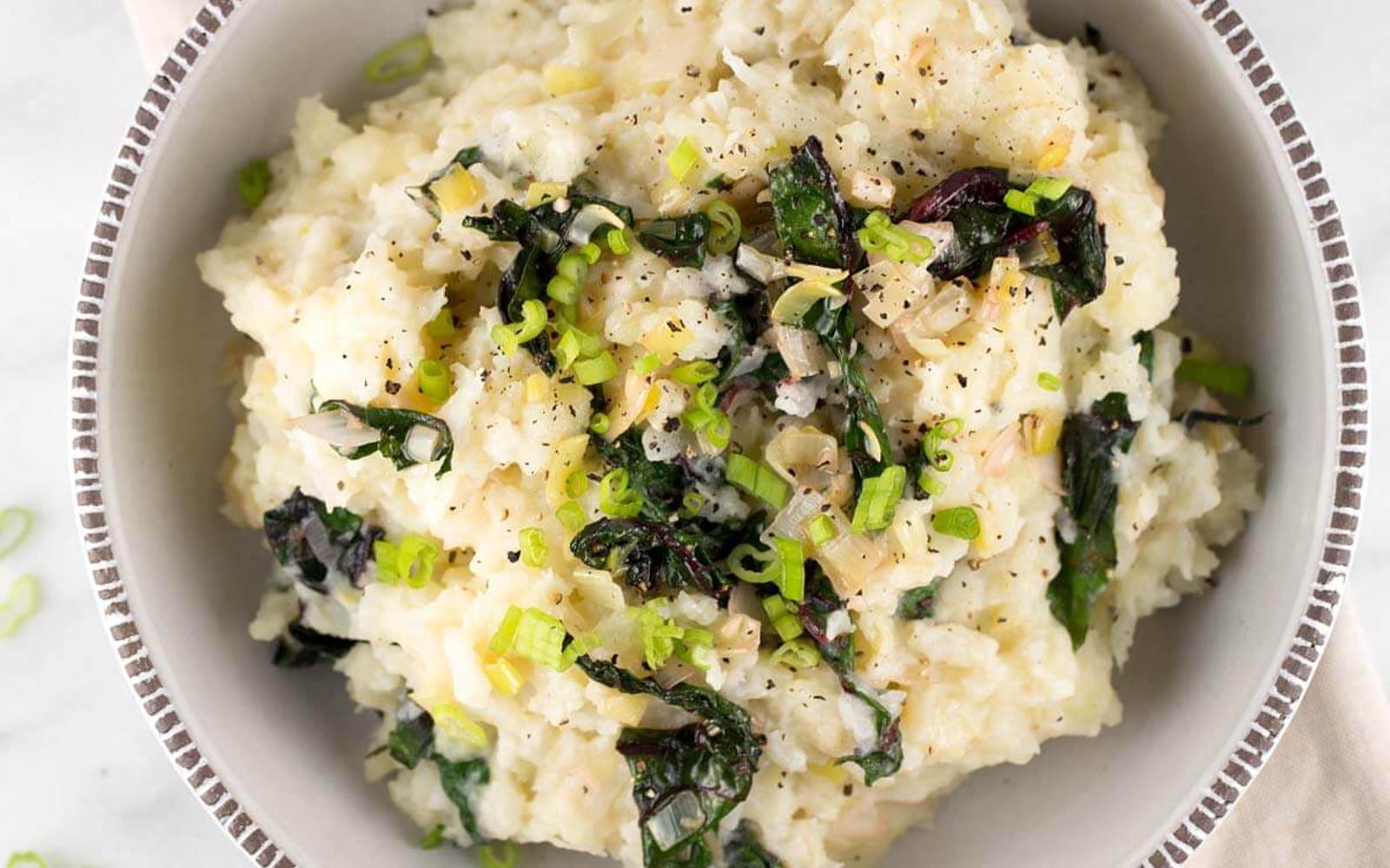 Cauliflower Mashed Potatoes With Swiss Chard