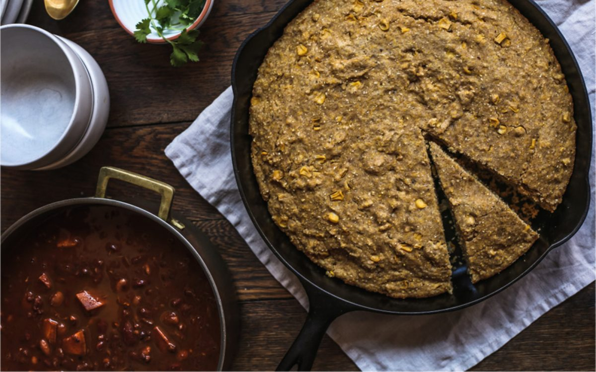 Sweet Potato Chili With Skillet Cornbread
